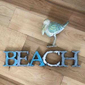 Other - Beach themed decor. Beach sign & bird.